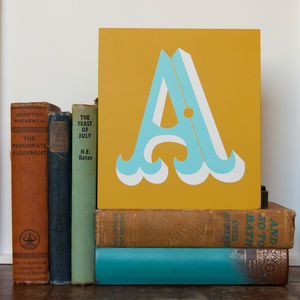 Letter A,B, Or C Screen Printed Wooden Block