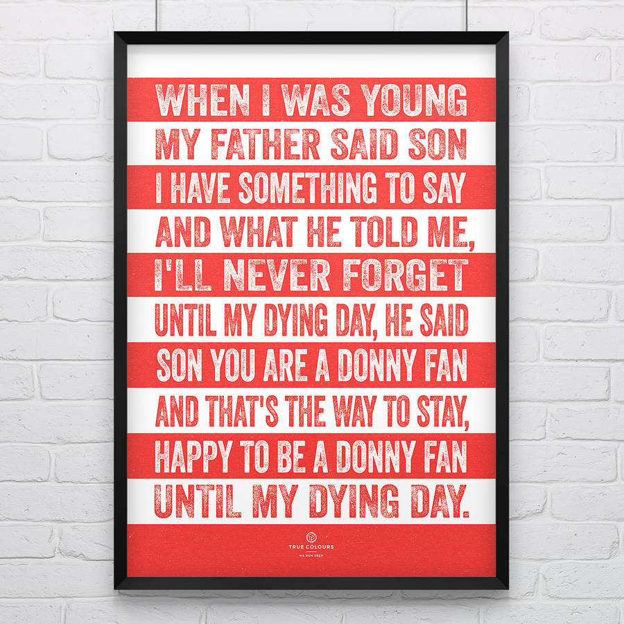 Doncaster Rovers 'When I Was Young' Football Song Print