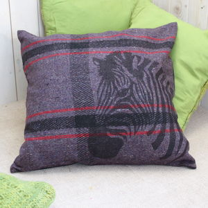 Recycled Blanket Cushion Cover With Zebra Print - view all sale items