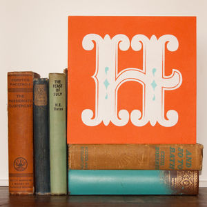 Letter G, H Or I Screen Printed Wooden Block - decorative accessories