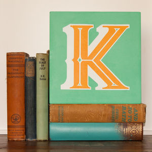 Letter J, K Or L Screen Printed Wooden Block