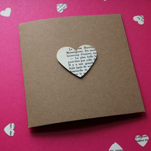 Vintage Paper Heart Card - anniversary cards