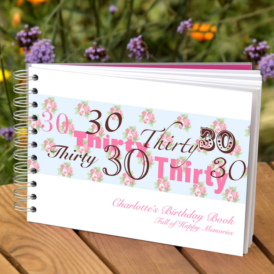 personalised 30th birthday guest book by amanda hancocks
