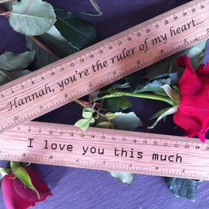Personalised Engraved Valentines Gift Ruler - office & study