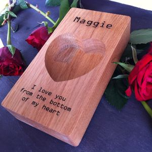 Personalised Oak Valentine's Heart Ring Storage Tray - bedroom
