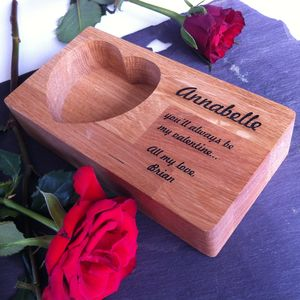 Personalised Oak Valentine's Heart Ring Storage Tray - cufflink boxes & coin trays