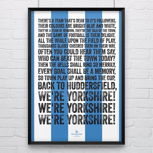 Huddersfield Town 'We're Yorkshire' Football Song Print