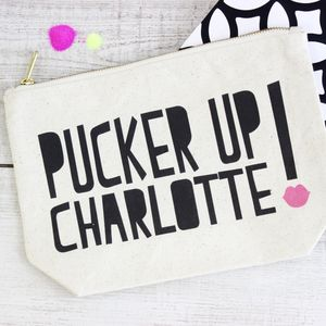 Personalised 'Pucker Up' Make Up Bag - gifts for her sale