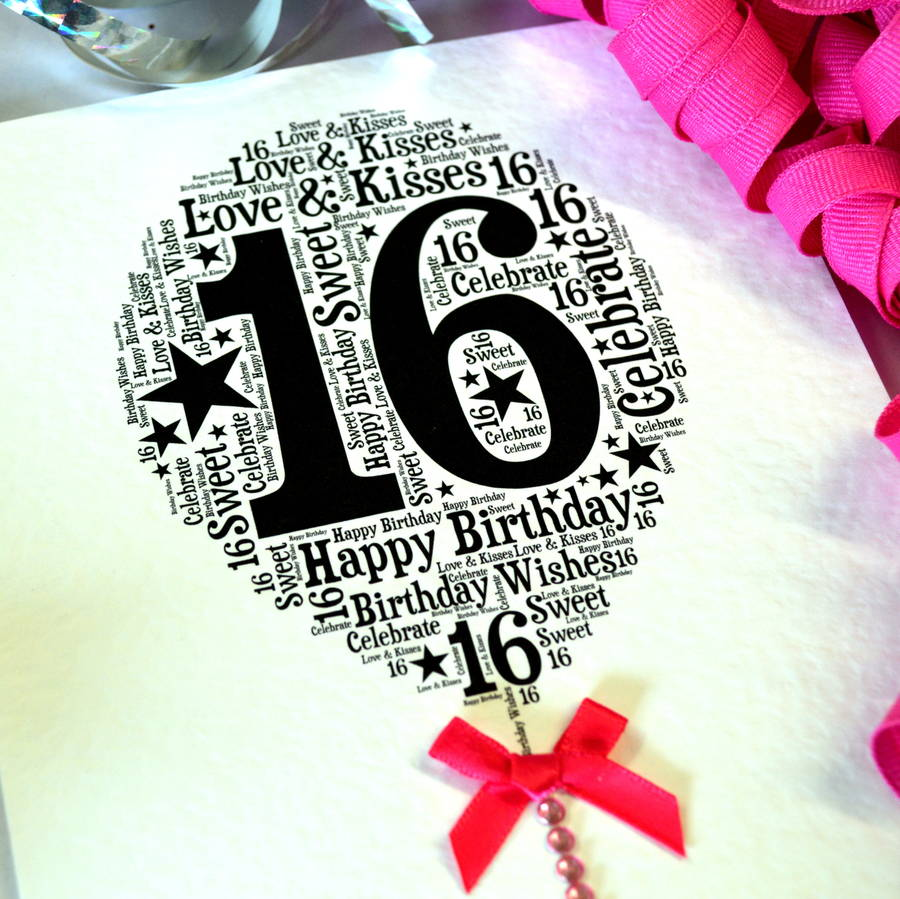 16th Happy Birthday Balloon Sparkle Card By Sew Very
