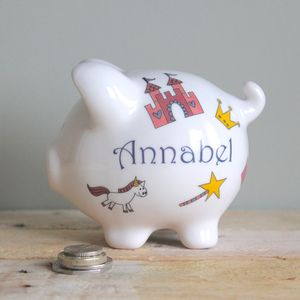 Personalised Pink Princess Piggy Bank