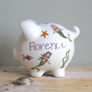 Personalised Mermaid Piggy Bank