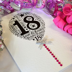 18th Happy Birthday Balloon Sparkle Card - birthday cards