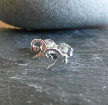 Silver Bass Clef Stud Earrings