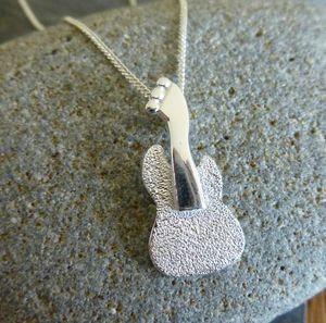 Silver Guitar Pendant And Chain