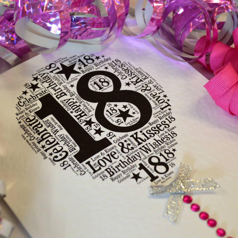 18th Happy Birthday Balloon Sparkle Card