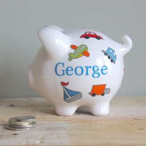 Personalised Little Vehicles Piggy Bank