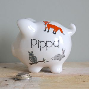 Personalised Woodland Animals Piggy Bank