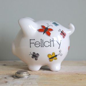 Personalised Colourful Butterfly Piggy Bank