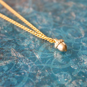 Gold Plated Acorn Charm Necklace
