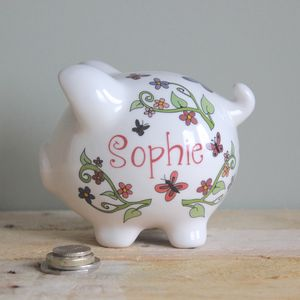 Personalised Flower Garden Piggy Bank