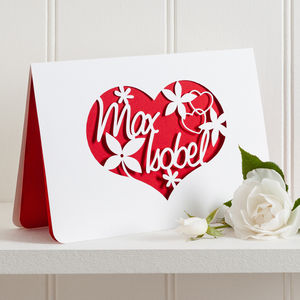 Love Couple Paper Cut Card - personalised cards
