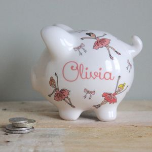 Personalised Ballerina Piggy Bank - children's room accessories
