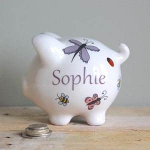 Personalised Butterflies, Bees And Ladybirds Piggy Bank