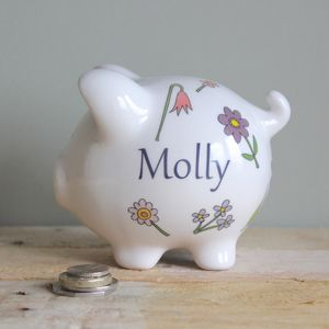 Personalised Flower Piggy Bank