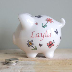 Personalised Flowers, Butterflies And Hearts Piggy Bank