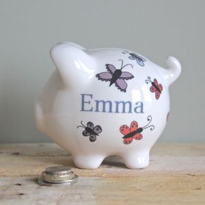 Personalised Butterfly Piggy Bank