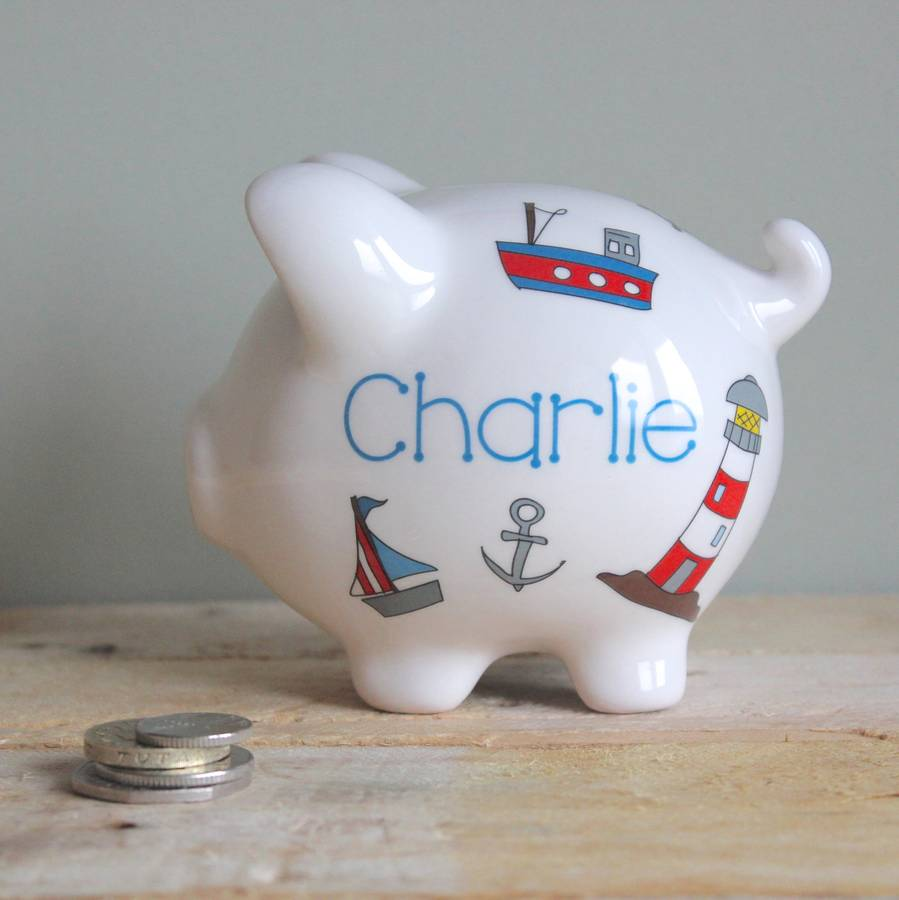 Personalised nautical piggy bank by sparkle ceramics - Nautical piggy banks ...