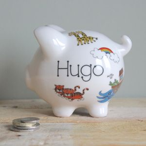 Personalised Noah's Ark Piggy Bank - storage & organisers