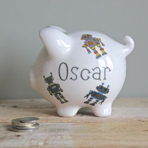 Personalised Robots Piggy Bank