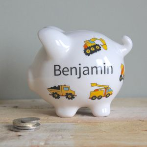 Personalised Diggers Piggy Bank