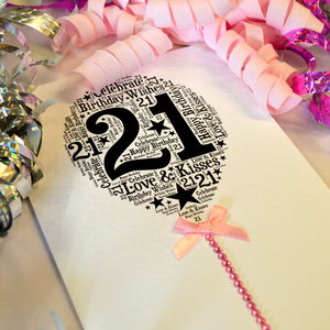 21st Happy Birthday Balloon Sparkle Card