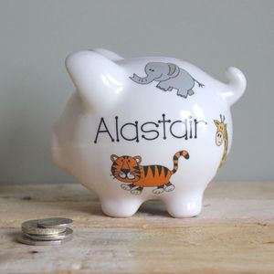 Personalised Zoo Animals Piggy Bank