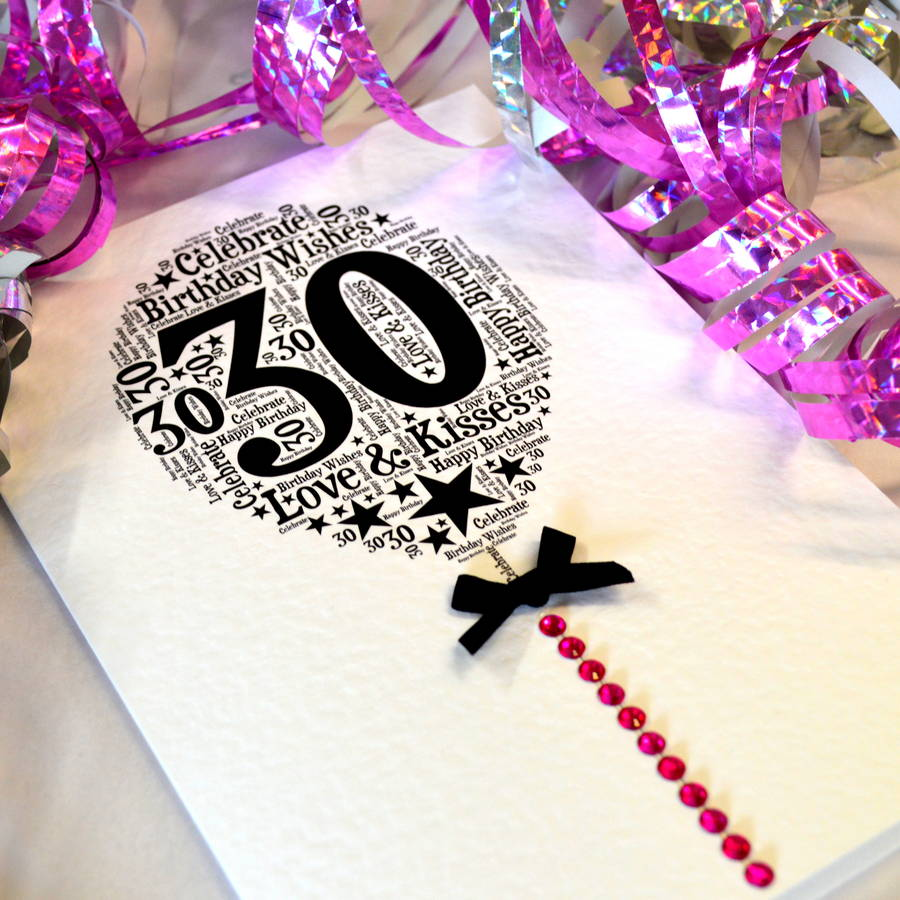 30th Happy Birthday Balloon Sparkle Card By Sew Very English