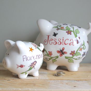 Personalised ceramic piggy banks for girls