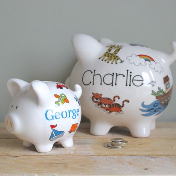 Personalised Piggy Bank For Boys