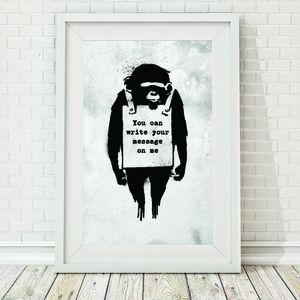 Grunge Banksy Personalised Monkey Sign Framed Print