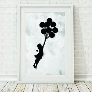 Grunge Banksy Floating Balloon Girl Framed Print