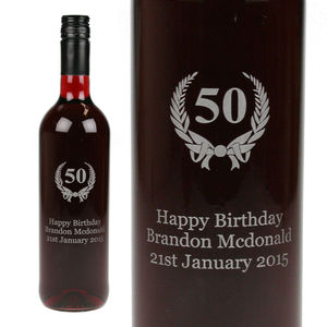 Personalised 'Any Age' Engraved Birthday Wine - wine