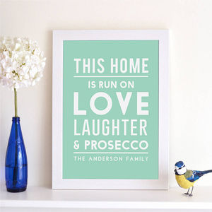 Personalised 'This Home Is Run On' Print - food & drink prints