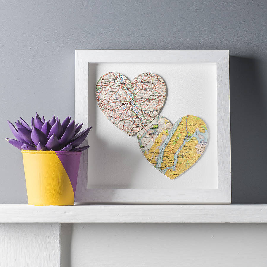 Wedding Gifts For Couples Suggestions : two map location hearts print duo by bombus notonthehighstreet.com
