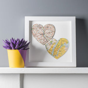 Two Map Location Hearts Print Duo - gifts for couples