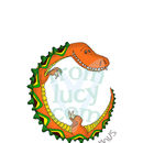 'Dinosaur Alphabet Print' - showing detail of the letters (watermarked)