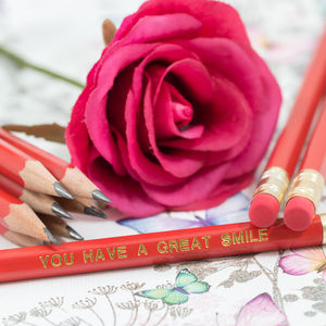 12 Personalised Red Pencils