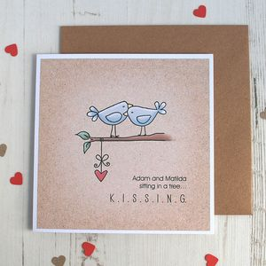K.I.S.S.I.N.G. Personalised Valentine's Card - engagement cards