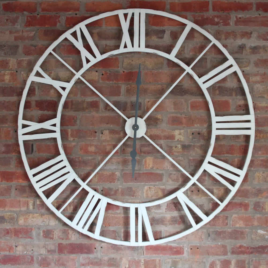 Antique white iron clock roman numerals extra large by cowshed interiors - Large roman numeral wall clocks ...