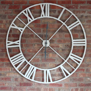 Antique White Iron Clock Roman Numerals Extra Large - clocks